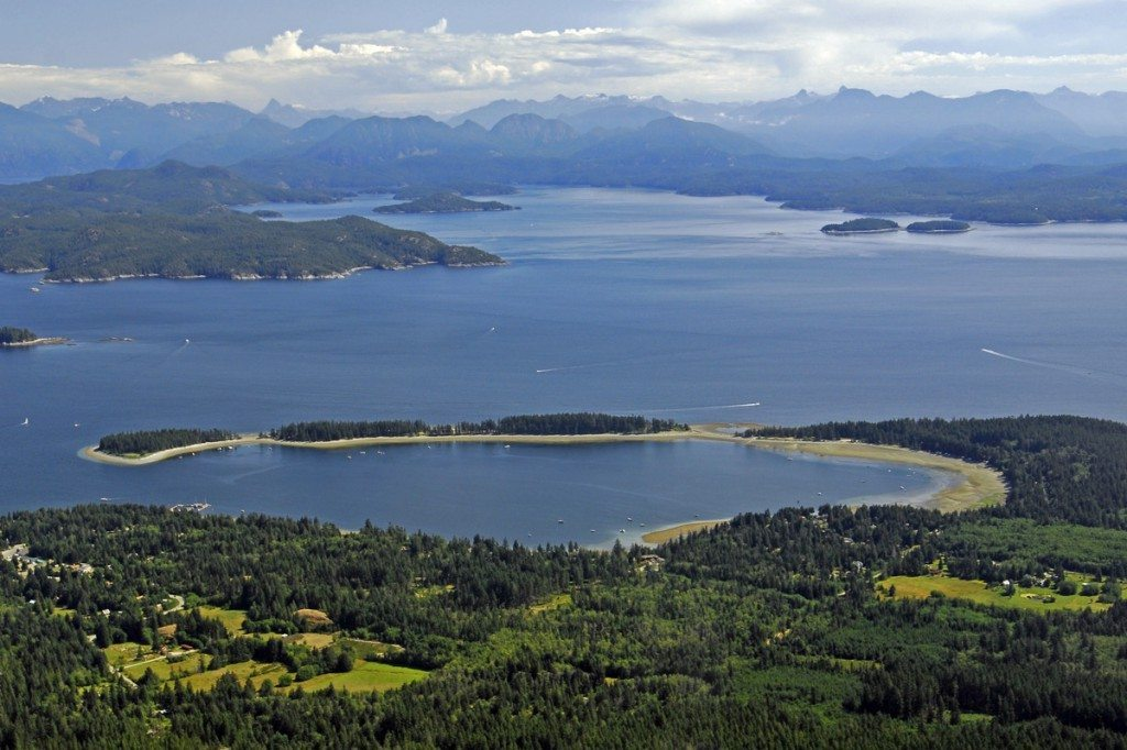 Quadra Island Aerial View of Rebecca Spit. Credit: Philip Stone