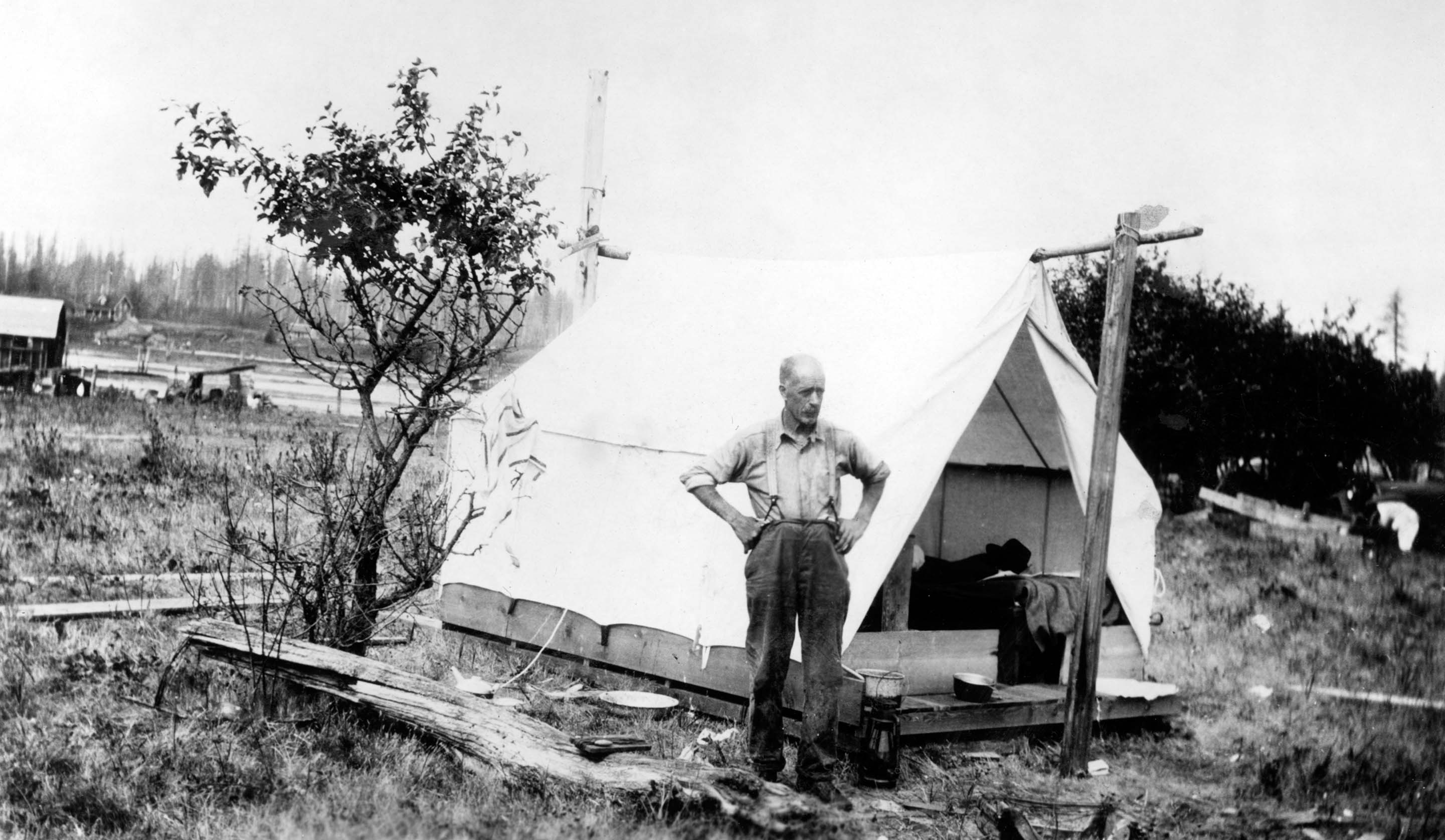 H. Smith by his tent on the Campbell River spit.