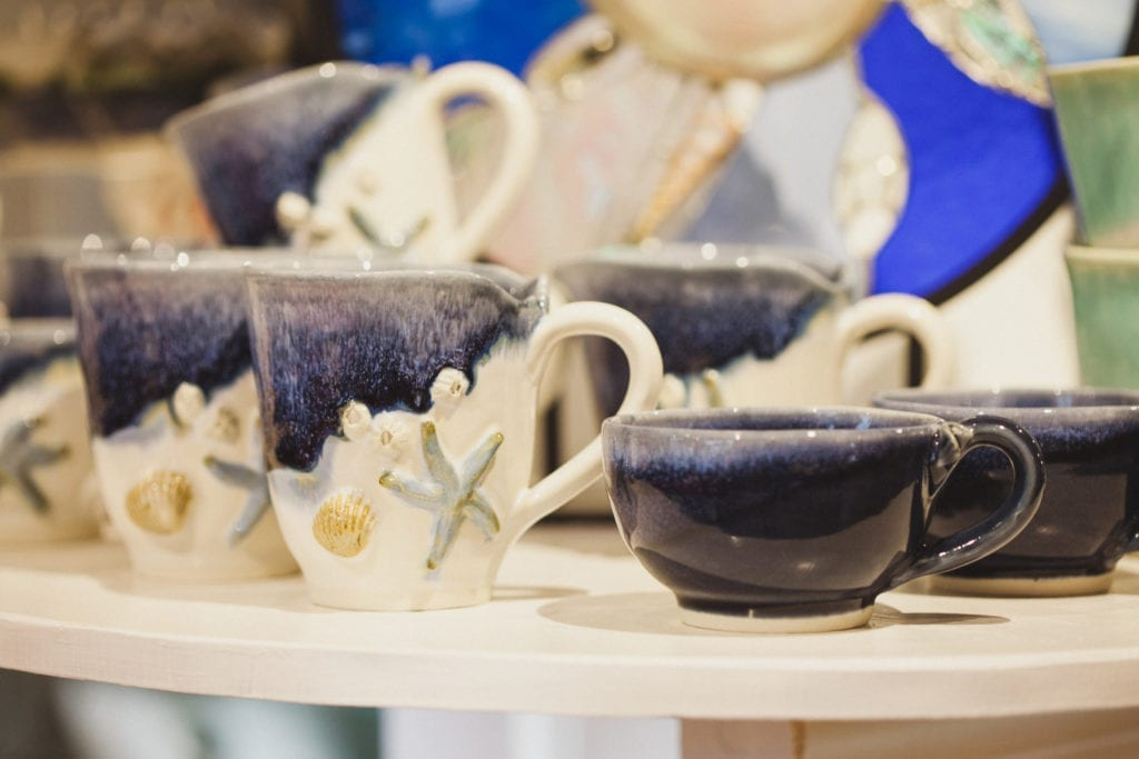 Mugs on display in Mussels and More