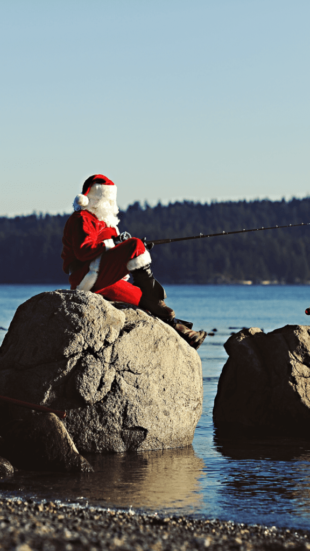 Santa fishing on the beach in Campbell River